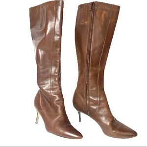 Cole Haan Light Brown Leather Stiletto Tall Boots